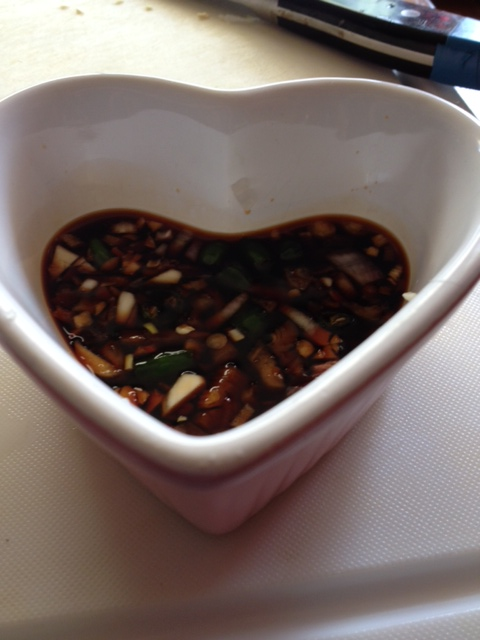 Soy sauce, vinegar, chili, garlic and onion